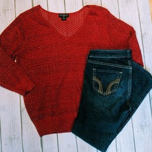 Metaphor Petite Red See-through Sweater ¾ length s